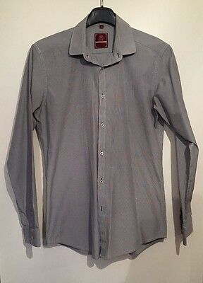 Next Men's Slim Fit Grey Pattern Shirt 15 Inch Collar