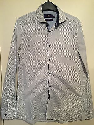 Next Mens White and Blue Pattern Slim Fit Shirt 15 inch collar