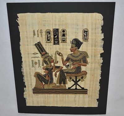Vintage 1980's Egyptian Hand Painted Papyrus Art SIGNED