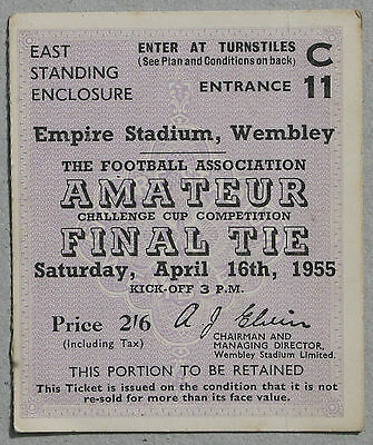 1955 FA Amateur Cup Final BISHOP AUCKLAND v HENDON *Good Condition Ticket*