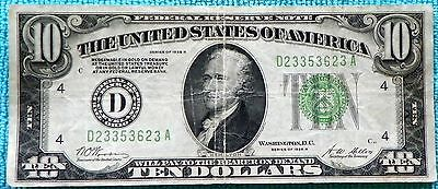 1928-B $10 D Cleveland Redeemable in Gold on Demand Note FRN  #1