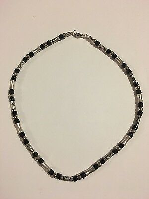 Mens Jewellery - Brand New - Silver & Black Necklace