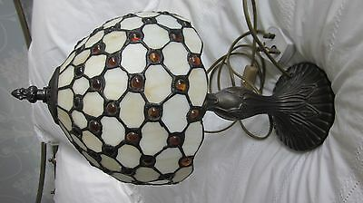 """Tiffany Lamp, Metal Stem, White Shade With Orange Inserts, 8"""" Wide, 14"""" High"""