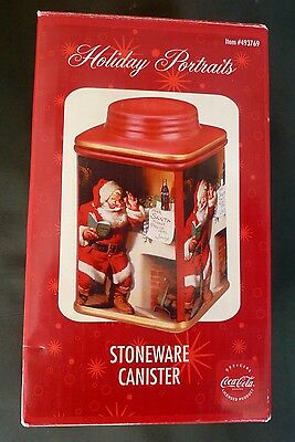 NIB Coca Cola Coke Holiday Portraits RED Stoneware Canister #493769
