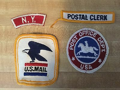 "Lot Of FOUR VINTAGE USPS POST OFFICE SHOULDER PATCH  ""U.S. MAIL"" POSTAL CLERK ++"