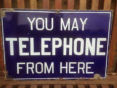 Double Sided Antique Enamel Sign You May Telephone From Here Railway Post Office