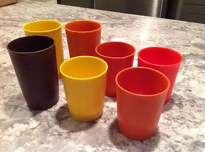 VTG Tupperware Tumblers Tall & Short Harvest Colours