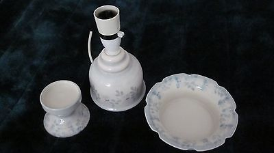 Jersey Pottery Lamp Base, Bowl And Candle Stand