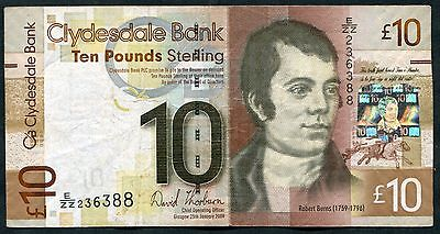 SCOTLAND   Clydesdale Bank  £10   2009    W/HS Series   REPLACEMENT  E/ZZ