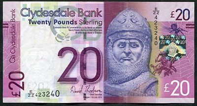 SCOTLAND   Clydesdale Bank  £20   2014  Last date of Thorburn signature     E/ZZ