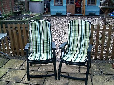 Pair Of Plastic Garden Reclining Chairs