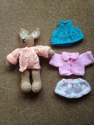 hand knitted easter bunny with clothes
