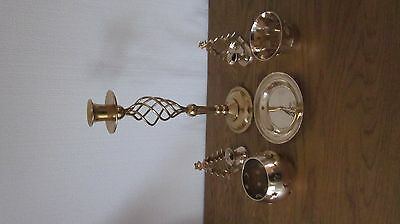 Solid Brass Candle Stick Plus 4 Other Brass Candle Holders