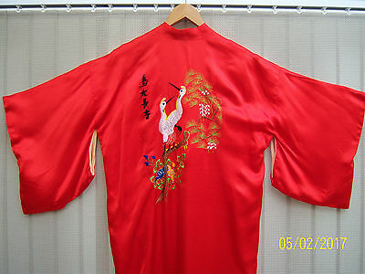 Vintage red embroidered Kimono robe - possibly silk