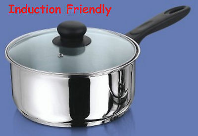 Induction Stainless Steel Heavy Saucepan With Glass Lid - 16, 18 And 20Cm