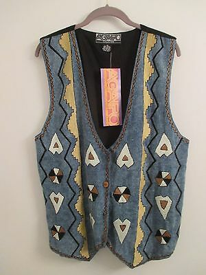 Agapo Collection Southwest Style Button Front Lined Vest Plus Size 1X NWT