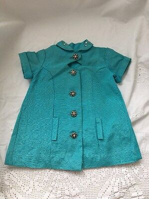 Vintage Doll Clothes Lot #5: Turquoise COAT with RHINESTONE Buttons