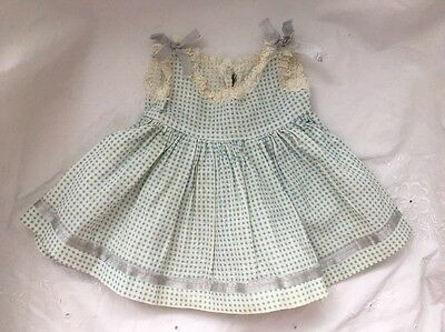 Vintage Doll Clothes Lot #6: BLUE GINGHAM Check  Baby Doll DRESS