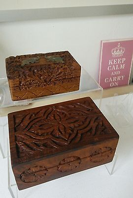 Two Indian Hand Carved Boxes - One Brass Elephants Other Hinged