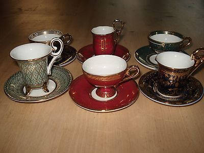 SET OF SIX MINIATURE PORCELAIN CUPS & SAUCERS by PAST TIMES