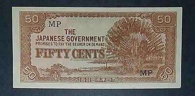 The Japanese Government-50 Cent-Wwii Banknote- Uncirculated-Very Nice Condition
