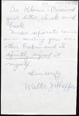 Lafayette Flying Corps Walter J. Shaffer Fighter Pilot Signed Autograph Rare ...