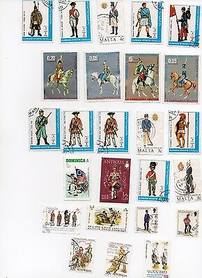 MILITARY UNIFORMS 25 Stamps All Different and Off Paper