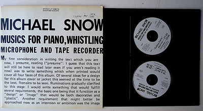MICHAEL SNOW. Music for Piano, Whistling, Microphone And Tape.. 2x cd. 1994 RARE