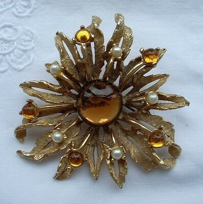 Vintage Signed Sphinx Jewellery Citrine Paste & Faux Pearl Flower Brooch Pin