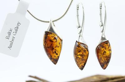 NATURAL BALTIC AMBER SILVER 925 EARRINGS & PENDANT + CHAIN SET Certified + BOX