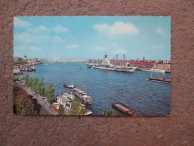 Postcard of Rotterdam Panorama with Aircraft Carrier