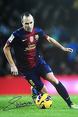 Barcelona Iniesta Original Hand Signed Photo 30x20cm With COA