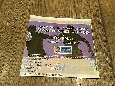 Fa Charity Shield 1999- Manchester United V Arsenal 1 August 1999- Ticket Stub