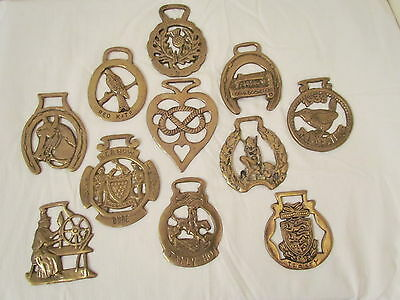 Vintage Retro Collection Of 11 Horse Brasses