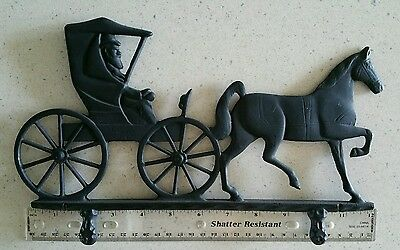 Weathervane Mailbox Topper Amish Farmer Man Horse Buggy Antique Vintage