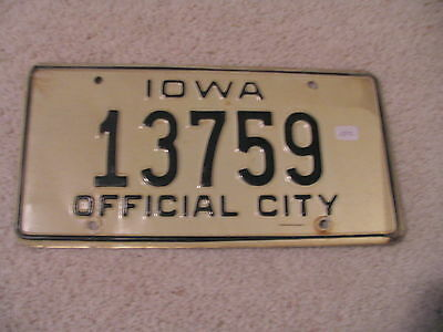 Iowa Vintage Official City License Plate