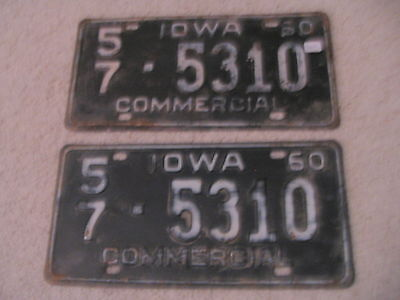 1960 Iowa Vintage Commercial License Plates MATCHING PAIR