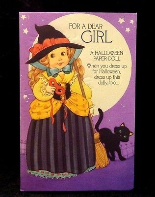 Halloween Card with Paper Doll and Halloween Outfits Unused Outfits & Doll Uncut