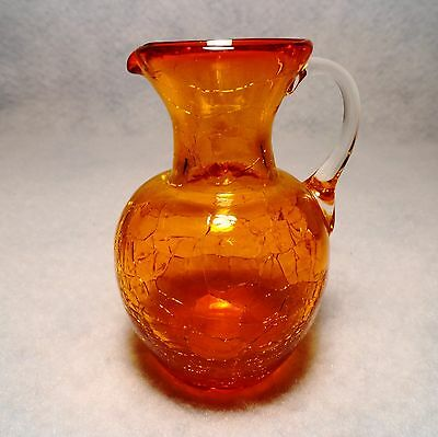 OOAK hand blown Amber Crackle Glass wide mouth PETITE PITCHER clear handle