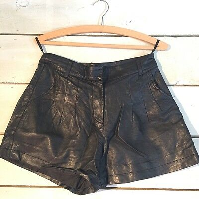 Topshop Size 10 Leather Look High Waisted Shorts