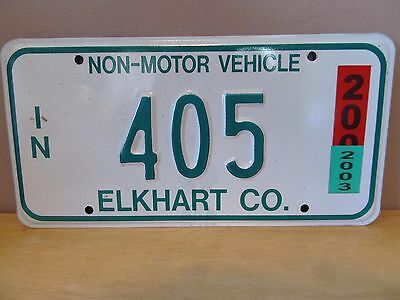 Indiana Non-Motor Vehicle Metal License Plate~2003~Elkhart County~#405~Amish