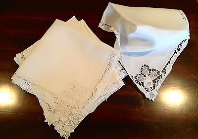 Antique Linen Table Napkins Embroidered Needle Lace As Is Set Of 6