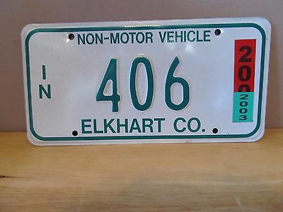 Indiana Non-Motor Vehicle Metal License Plate~2003~Elkhart County~#406~Amish