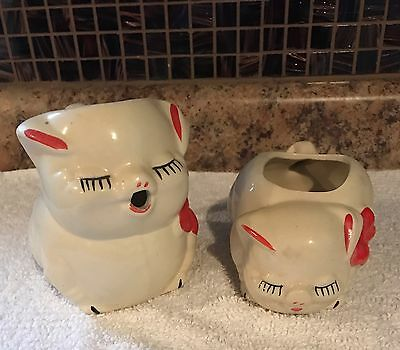 Antique Old Vintage Creamer And Sugar Pigs