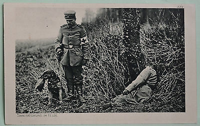 WWI 1916·Airedale Terrier dog finding a wounded soldier·postcard·RED CROSS