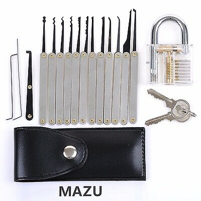 12-Piece Lock Pick Set + Transparent Lock | High Quality | FAST SHIPPING |