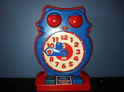Vtg 1975 Little Learners OWL Teaching Clock By Sears/Tomy BLUE & RED Tell Time