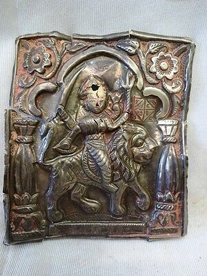 1 Old Indian Goddess Mataji  Embossed Antique Silver Plate Plaque Rare Genuine