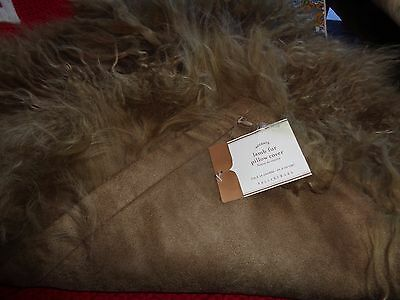 "Pottery Barn Mongolian Lamb  pillow cover 18""   New"