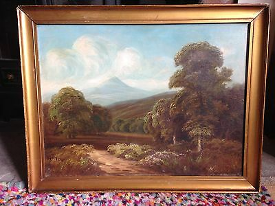 Antique 19th victorian oil on canvas gilt plaster on wood painting signed Hinton